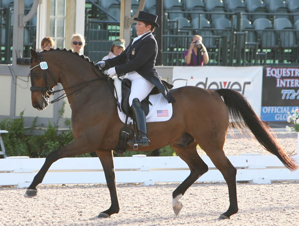 Shelly Francis of Loxahatchee, Florida and Doktor was the leading rider with a score of 72.069 per cent for USA 2 that placed fourth. © Ken Braddick/dressage-news.com