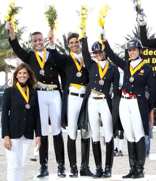 The Spanish bronze medal team of Carlos Munoz, Juan Matute, Jr., Paula Matute and Maria Renilla. © 2014 Ken Braddick/dressage-news.com