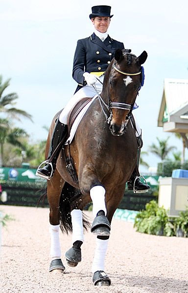 Tinne Vilhelmsson-Silfvén and Don Auriello celebrating a victory in Florida. © 2014 Ken Braddick/dressage-news.com
