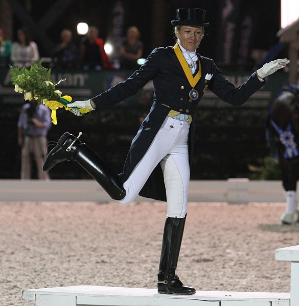 Tina Konyot having fun on the Nations Cup individual medals podium. © 2014 Ken Braddick/dressage-news.com