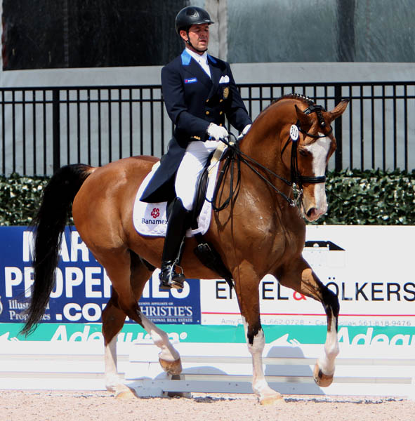 Antonio Rivera Galarza riding Wizard Banamex in the Grand Prix in Wellington. © 2014 Ken Braddick/dressage-news.com