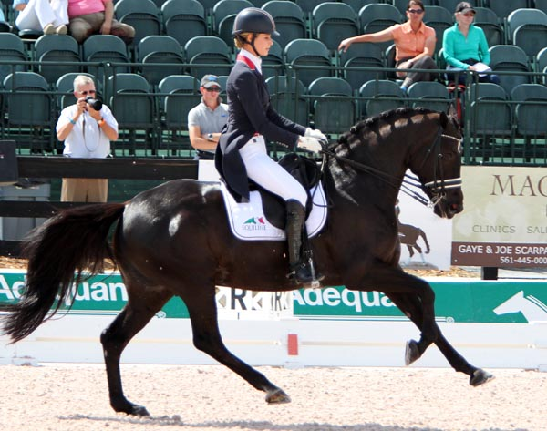 Caroline Roffman and Her Higness O in their first Grand Prix Special at the Palm Beach Derby. © 2014 Ken Braddick/dressage-news.com