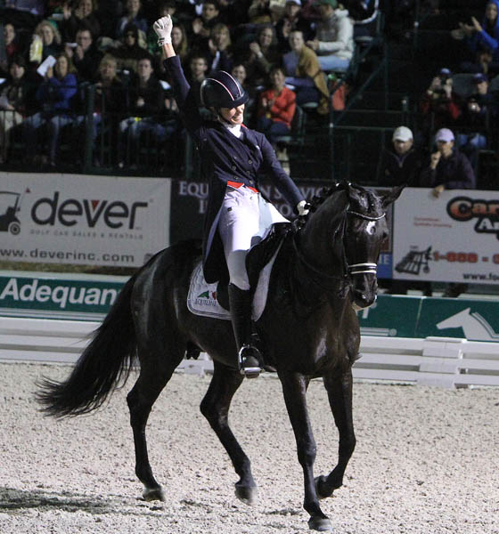 Caroline Roffman on Her Highness O was the most enthusiastic competitors. © 2014 Ken Braddick/dressage-news.com