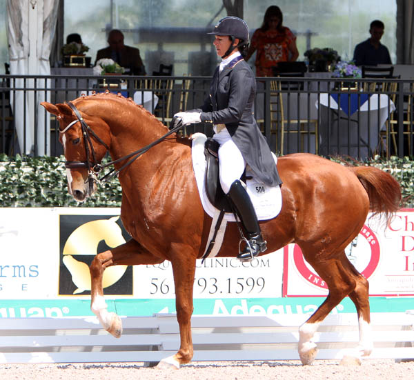 Catherine Haddad-Staller and Mane Stream Hotmail competing in Florida. © 2014 Ken Braddick/dressage-news.com