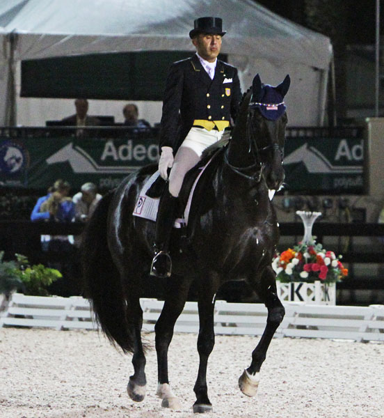 Cesar Parra on Van the Man at the Adequan Global Dressage Festival World Cup Freestyle that is likely to have won the pair an invitation to the Final in Lyon, France in mid-April. © 2014 Ken Braddick/dressage-news.com