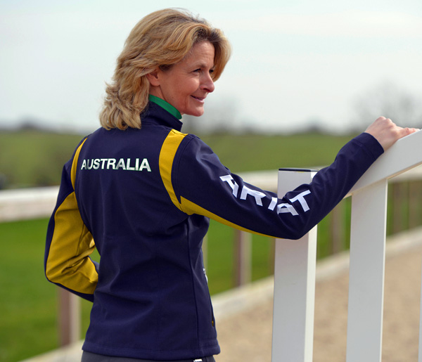 Australia's Olympic silver medalist Lucinda Fredericks modeling the Ariat team jacket. Photo: Guillaume Beguin