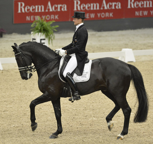 Edward Gal and Glock's Undercover produced a convincing victory in Saturday's last qualifying leg of the Reem Acra FEI World Cup™ Dressage Western European League at 's-Hertogenbosch, Netherlands.  Photo: FEI/Dirk Caremans