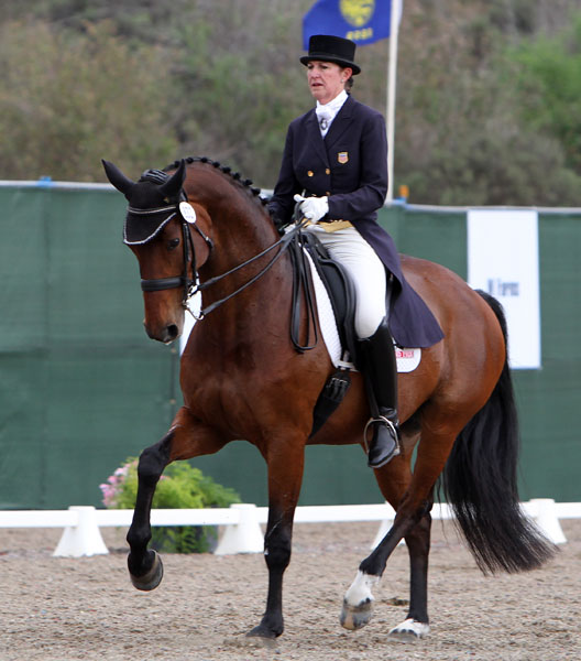 Kathleen Raine and Breanna heading to victory in the Capistrano International World Cup Grand Prix. © 2014 Ken Braddick/dressage-news.com