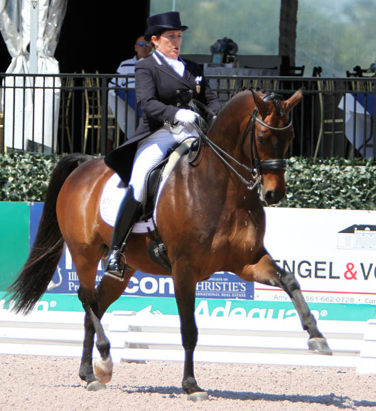 Shelly Francis and Doktor placed fourth on 71.500 per cent in the Adequan Gobal Dressage Festival World Cup rand Prix. © 2014 Krn Braddick/dressage-news.com