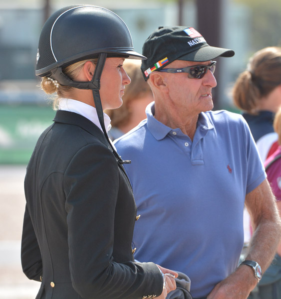 Silva Martin and George Morris after her Prix St. Georges ride on Rosa Cha W at the Adequan Global Dressage Festival. © 2014 Hans-Georg Linsenmeyer