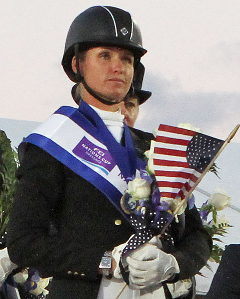 Silva Martin, member of USA 1 team that won the Global Dressage Festoval Nations Cup two weeks ago. ©2014 Ken Braddick/dressage-news.com