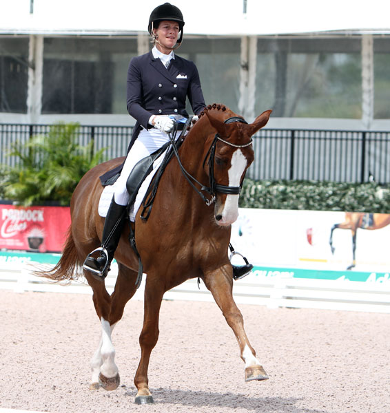 Sylvia Gugler competing Pie at the Global Dressage Festival in Wellington, Florida. © 2014 Ken Braddick/dressage-news.com