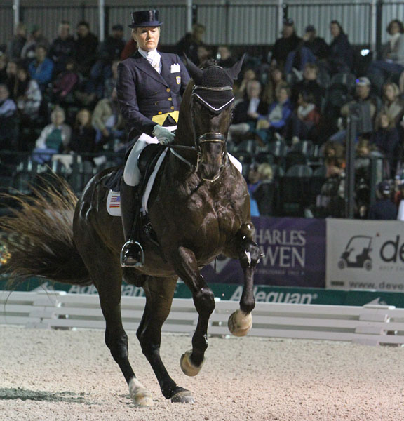 Tina Konyot and Calecto V competing in the Adequan Global Dressage Festival World Cup Freestyle. © 2014 Ken Braddick/dressage-news.com