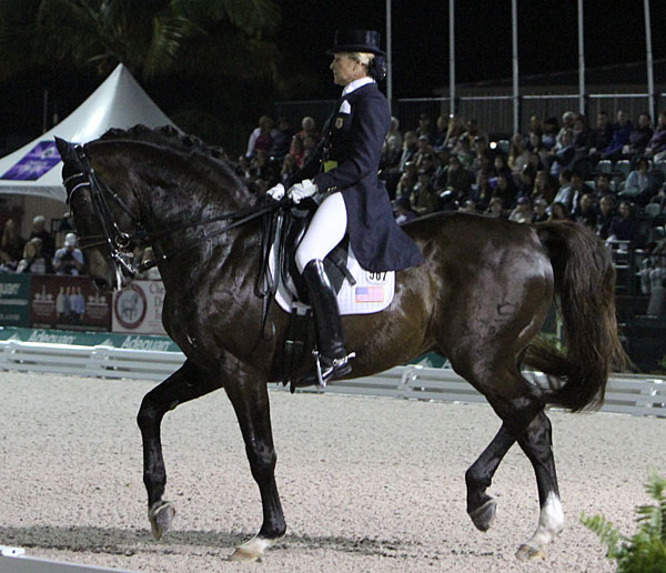 Tina Konyot and Calecto V in the Adequan Global Dressage Festival World Cup Freestyle. © 2014 Ken Braddick/dressage-news.com