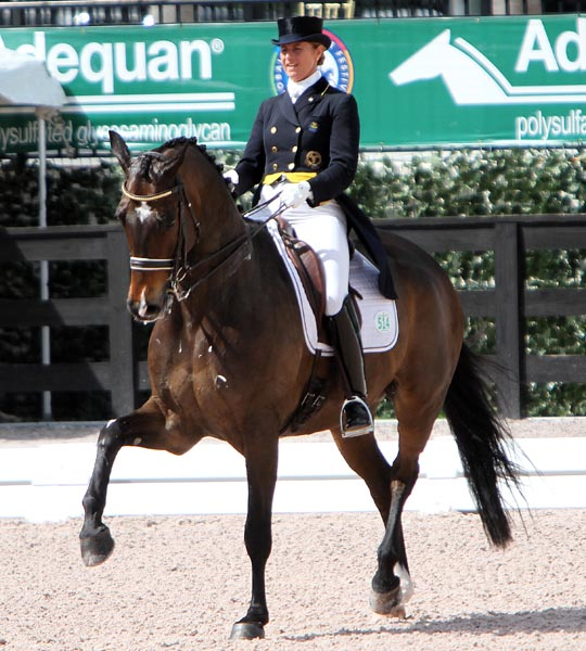 Tinne Vilhelmson Silfvén and Don Auriello setting a new high mark for the pair in the Grand Prix Special. © 2014 Ken Braddick/dressage-news.com