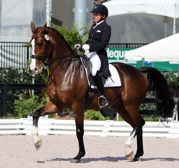 Vera Kessels-Barisone competing Whitman in the horse's first Grand Prix and the first Grand for the newly minted American citizen in 16 years. © 2014 Ken Braddick/dressage-news.com