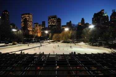 Central Park's Wollman skating rink at night.
