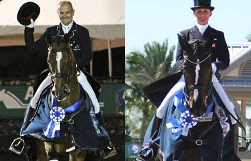 Lars Petersen on Mariett and Mikala Gundersen on My Lady. Images © 2014 Ken Braddick/dressage-news.com