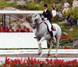 USA's Dorothy Morkis on Monaco as the last combination in the 1976 Olympic Games Nations Cup at Bromont, Canada. Dottie is still an active rider and trainer.