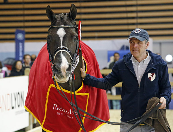 The champion! Valegro being taken care of by Alan Davies. © 2014 Jenny Abrahamsson/WorldofShowJumping.com