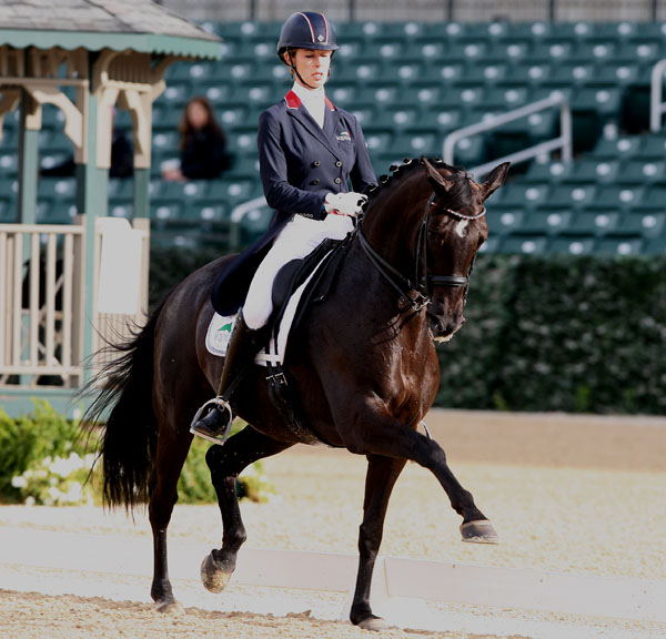Caroline Roffman and Her Highness O in the Kentucky CDI3* Grand Prix Sunday. © 2014 Ken Braddick/dressage-news.com