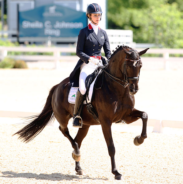Caroline Roffman riding Her Highness O to victory at the Kentucky CDI3* Grand Prix. © 2014 Ken Braddick/dressage-news.com