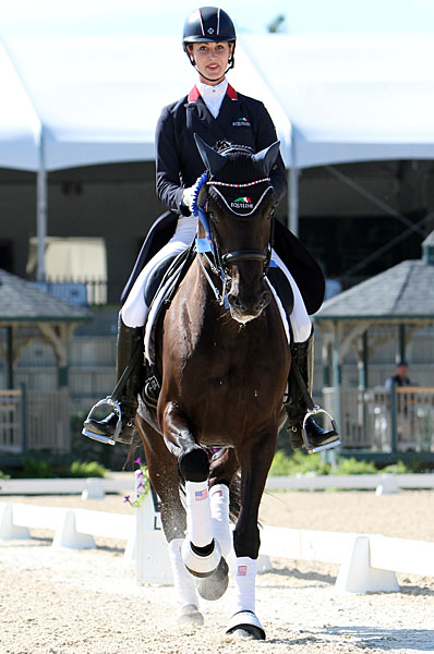 Caroline Roffman on Her Highness O celebrating victory at Kentucky. © 2014 Ken Braddick/dressage-news.com