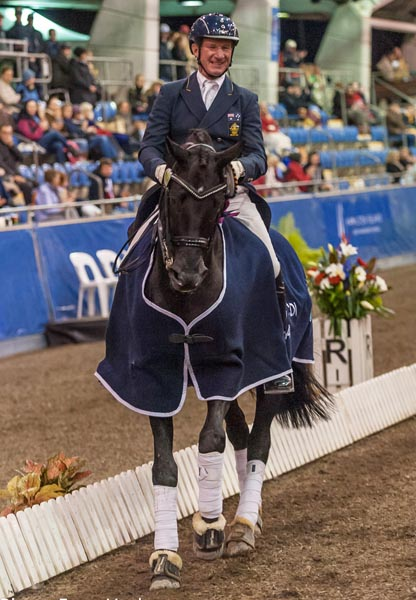 Heath Ryan and Regardez Moi celebrating victory at the Sydney CDI. © 2014 Franz Venhaus