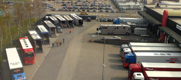Horse trailers lined up at Miami International Airport