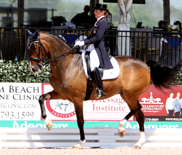 Susan Dutta and Currency DC competing at the Global Dressage Festival. ©2014 Ken Braddick/dressage-news.com