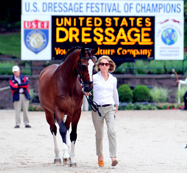 "Arlene ""Tuny"" Page with Alina at the US championships veterinary inspection. © 2014 Ken Braddick/dressage-news.com"