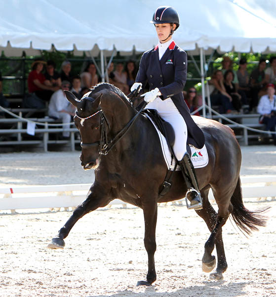 Caroline Roffman and Her Hoghness O competing in the US Championshps. © 2014 Ken Braddick/dressage-news.com