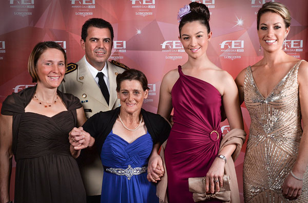 "The 2013 FEI Award winners: (left to right) Carmen Thiemann of Germany-Best Groom; Colonel Nuñez of Uruguay, director of National Army Riding School ""Grito de Asencio""--Development; Joann Formosa of Australln--Against All Odds; Reed Kessler of USA--Longines Rising Star; and Charlotte Dujardin of Grat Britain the  Reem Acra Best Athlete.  © FEI/Edouard Curchod"