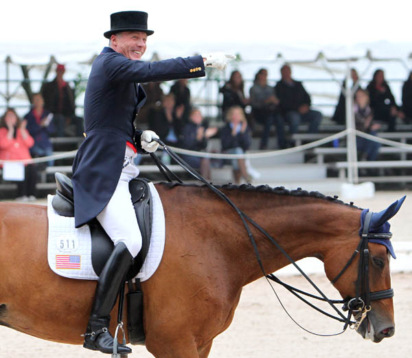 A happy Jan Ebeling on Rafalca at the end of their US Championship Grand Prix. © 2014 Ken Braddick/dressage-news.com
