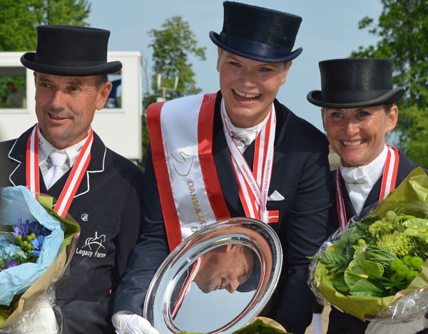 Danish Champion rider Lone Bang Larsen (center) with Florida-based riders Lars Petersen and Mikala Münter Gundersen who placed second and third.  2014 Claudia Gundersen