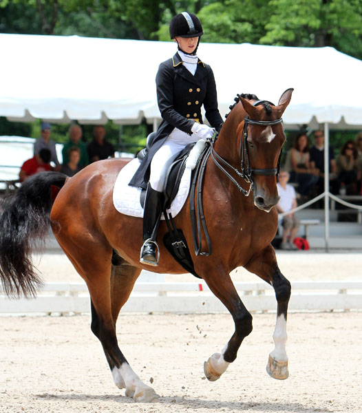 Laura Graves and Verdades perorming pirouette in the US Championshi Grand Prix Special. © 2014 Ken Braddick/dressage-news.com