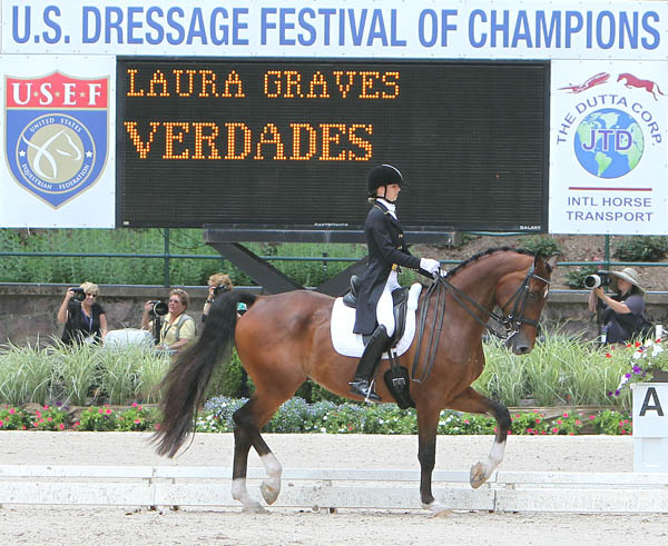 Laura Graves riding Verdades to reserve in the US Championship Grand Prix Special. © 2014 Ken Braddick/dressage-news.com