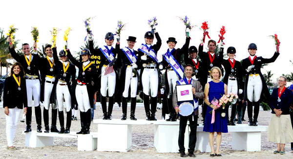 The 2014 Wellinton Nations Cup medals podium teams of USA (gold), Canada (silver) and Spain (bronze). © 2014 Ken Braddick/dressage-news.com