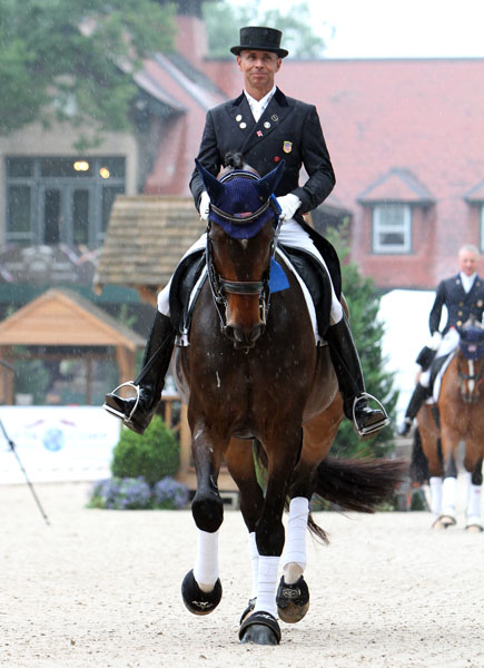 Steffen Peters on Legolas after the Grand Prix. © 2014 Ken Braddick/dressage-news.com