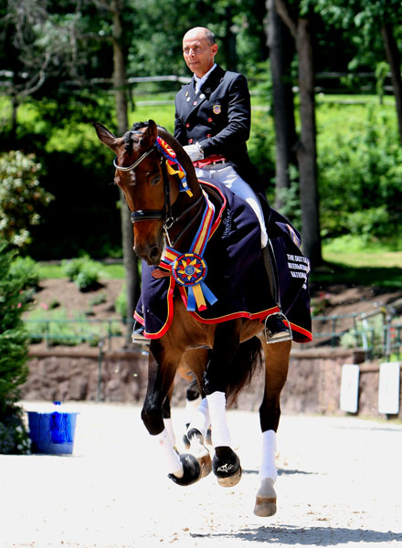 Steffen Peters and Rosamunde after capturing the U.S. Championships Intermediate division. © 2014 Ken Braddick/dressage-news.com