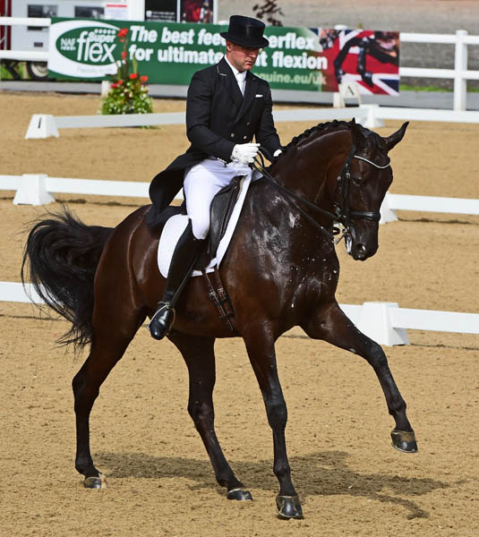 Anders Dahl riding Selten HW to victory at the Hartpury CDI3* Intermediate 1. © 2014 Kevin Sparrow