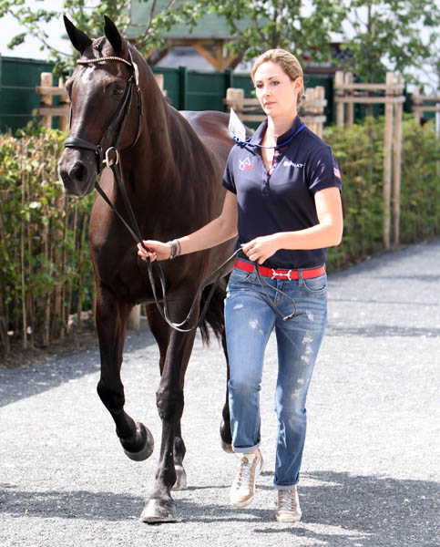 Caroline Roffman and Her Hghness O competed at Aachen in the small tour in 2013 and have moved up to Grand Prix to ride on the U.S. team in the Nations Cup. ©Ken Braddick/dressage-news.com