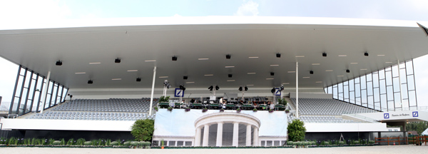 The new addition to the Deutsche Bank staidium being prepared for a a symphony concert as the opening event and three days ahead of the first dressage competition on Wednesday, July 16. © 2014 Ken Braddick/dressage-news.com