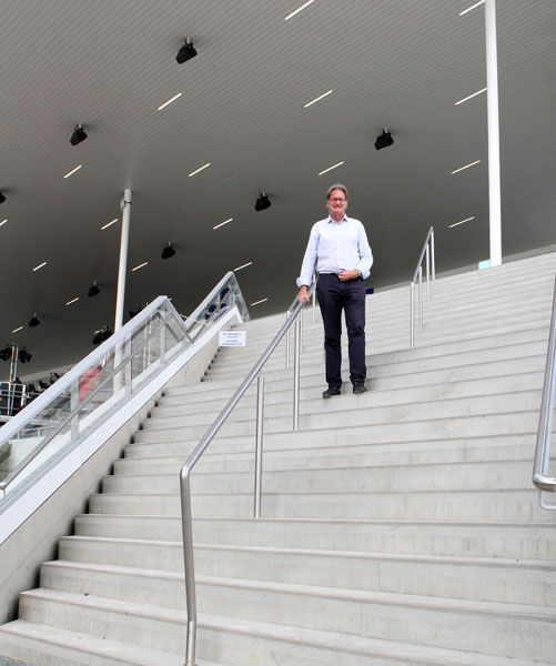 Frank Kemperman, Aachen show director, at the Deutsche Bank dressage stadium. © 2014 Ken Braddick/dressage-news.com