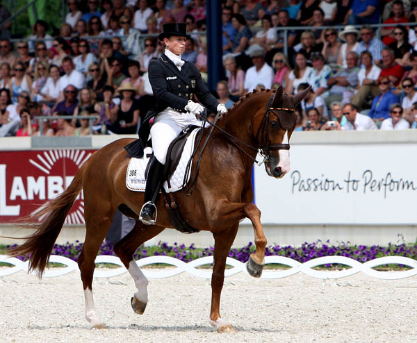 Isabell Werth riding Bella Rose in her first Freestyle. © 2014 Ken Braddick/dressage-news.com