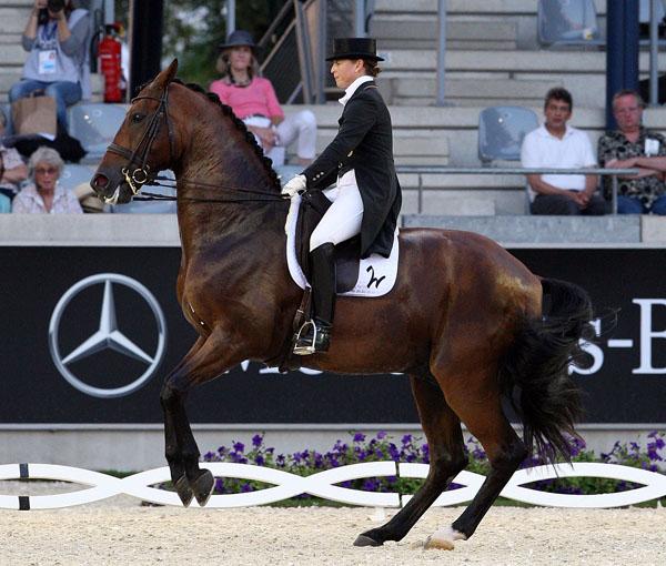 Don Johnson FRH not obeying rider Isabell Werth in the CDI4* Grand Prix at Aachen, Germany. © 2014 Ken Braddick/dressage-news.com