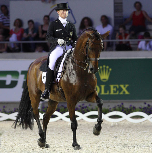 Isabell Werth riding Don Johnson to victory in the Aachen CDI4* Grand Prix Special. ©2014 Ken Braddick/dressage-news.com