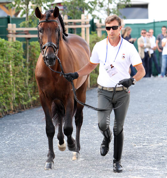 U.S.-owned Grandioso ridden competed by Jose Daniel Martin Dockx of Spain. © 2014 Ken Braddick/dressage-news.com