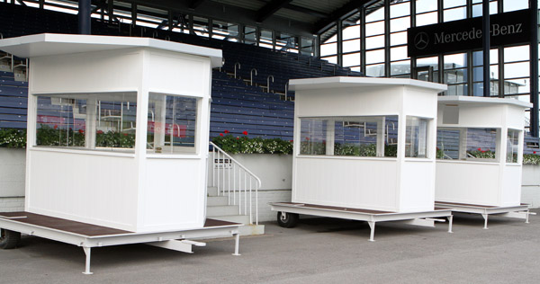 New judges' boxes minus the peaked roofs of the old ones to insure spectator views are not blocked. © 2014 Ken Braddick/dressage-news.com