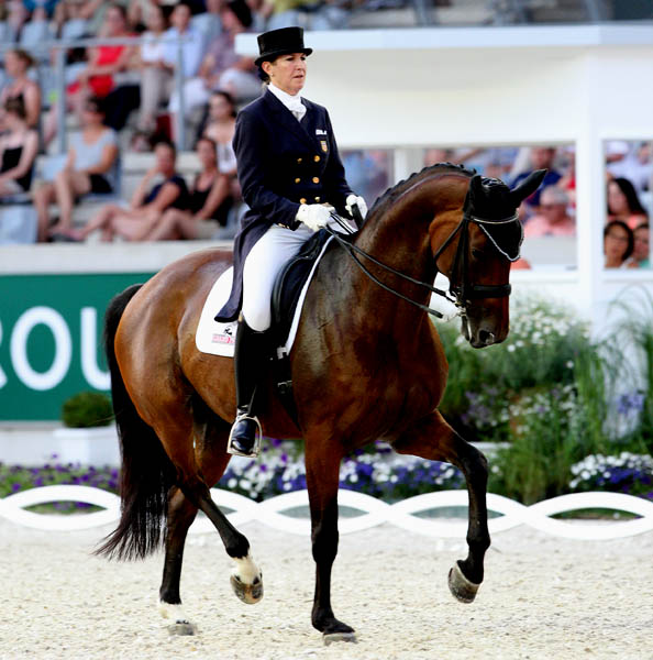 Kathleen Raine and Breanna logging personal best Grand Prix Special result at Aachen CDI4*. © 2014 Ken Braddick/dressage-news.com